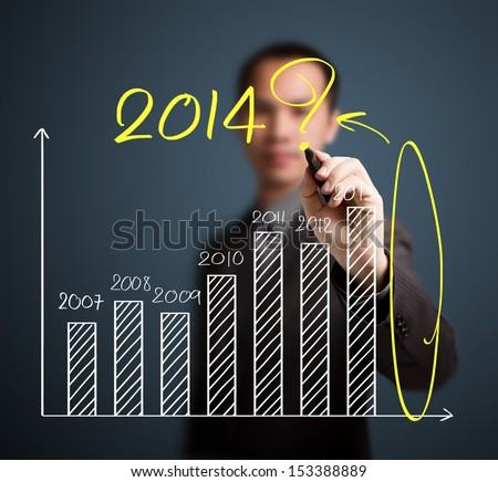 business man writing question about 2014 on graph