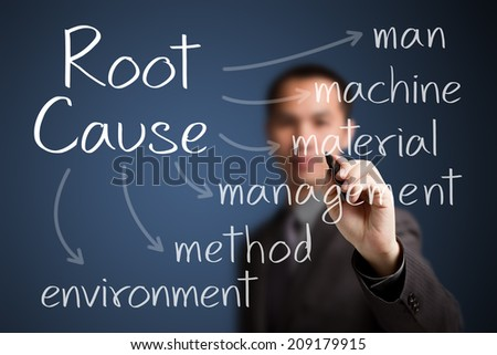 business man writing root cause analysis - stock photo