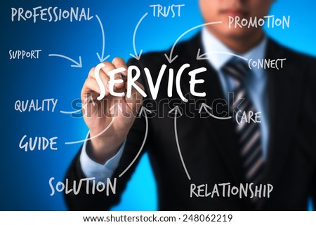 business man writing service concept. business man writing concept of vision bring achievement, performance, solution creativity, development, innovation and success - stock photo