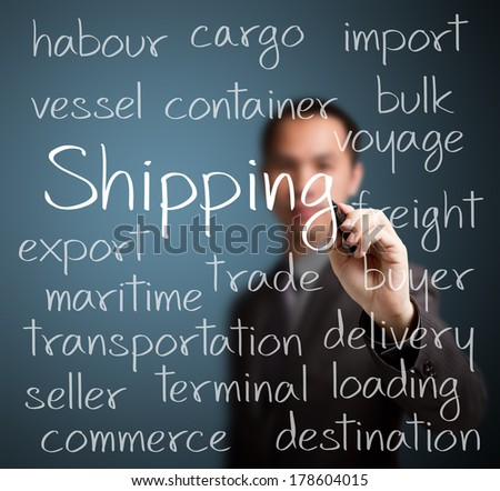 business man writing shipping concept