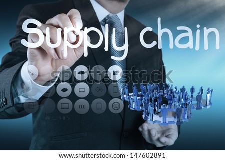 business man writing supply chain management concept by flow from supplier to customer - stock photo