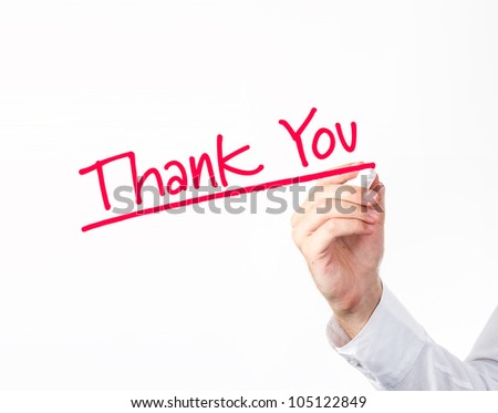 """Business man writing """"Thank You"""" to screen. - stock photo"""