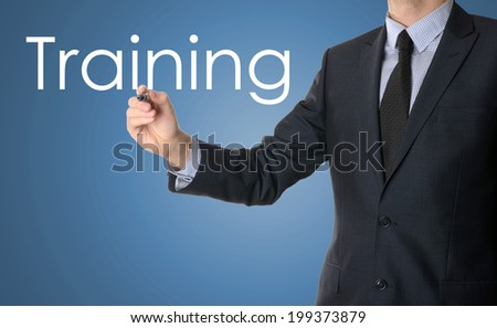 business man writing training concept  - stock photo