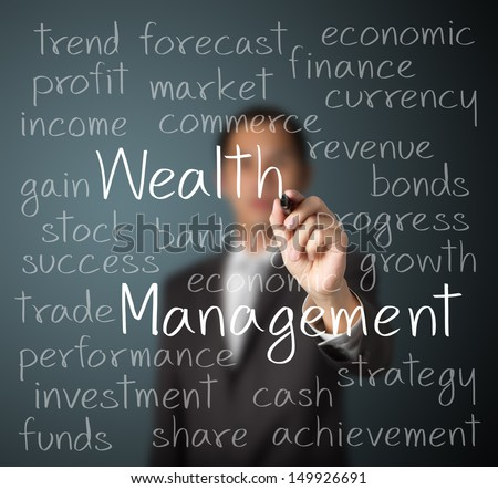 business man writing wealth management concept - stock photo