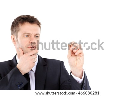 Business man writing with a pen, white background