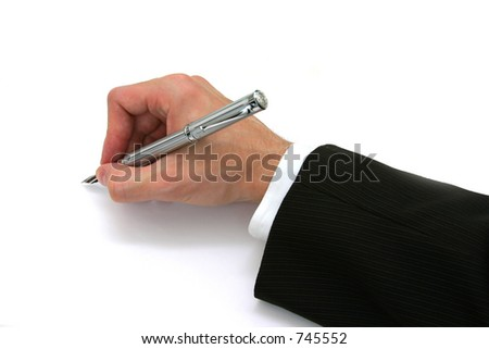 Business Man Writing with Fountain Pen - stock photo