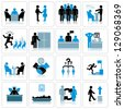 Business Management and Human Resources Icon Set. - stock vector