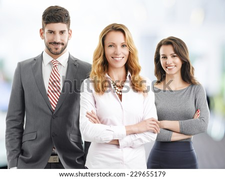 Business management standing at office. Teamwork.  - stock photo