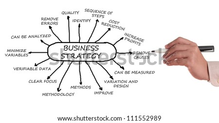 Business management strategy chart in a white background. - stock photo