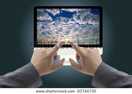 business mand touch at Computer Monitor with cloud computing Concept