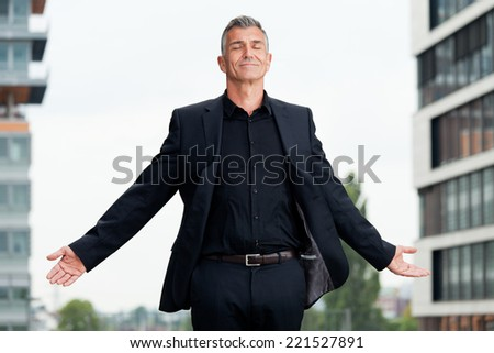 Business Mann meditation - stock photo