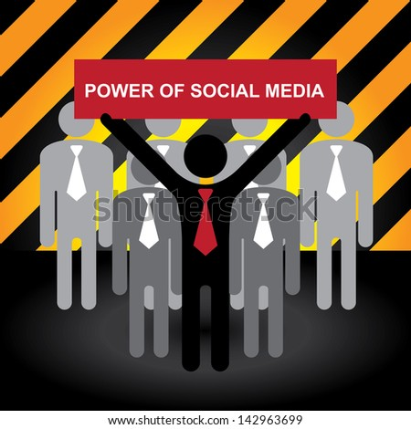 Business, Marketing or Financial Concept Present By Group of Businessman With Red Power of Social Media Sign in Caution Zone Dark and Yellow Background - stock photo