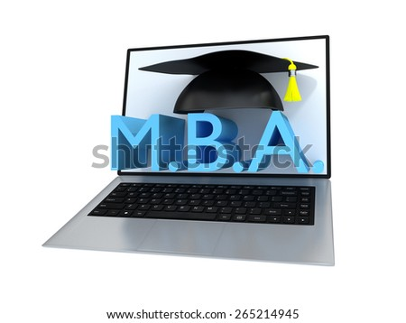 Business Master Initials With Academic Graduation Cap On A Laptop Screen - stock photo