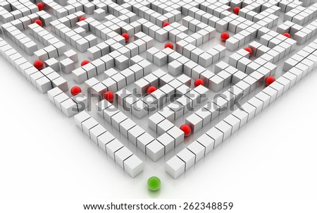 Business maze, 3d rendering. - stock photo