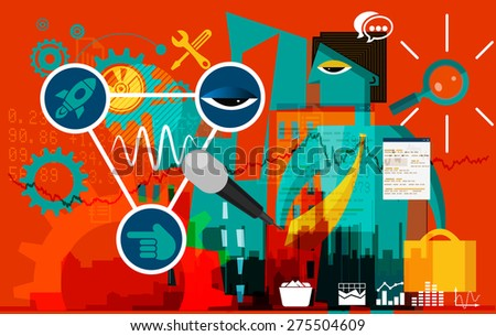 Business Media Promotion Abstract - stock photo