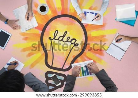 Business meeting against idea light bulb - stock photo