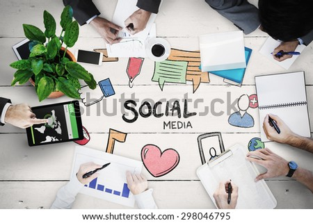 Business meeting against white wood - stock photo