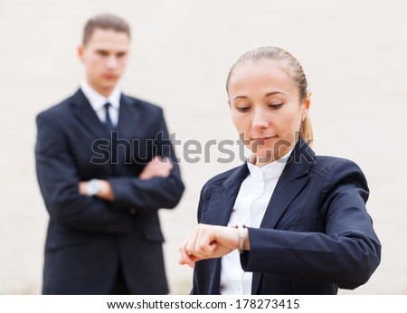 Business meeting and waiting for the client - stock photo