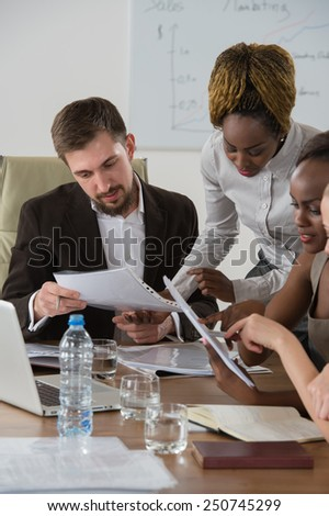 Business meeting at office multi racial group of business people working together - stock photo