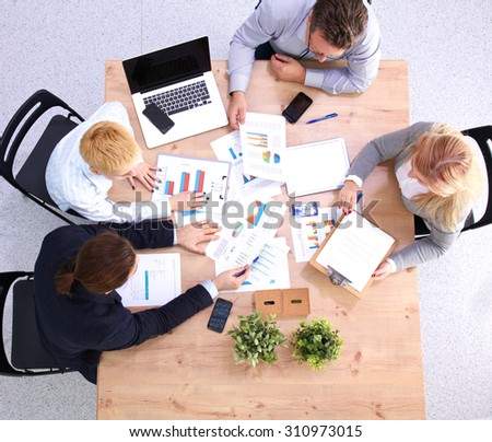 business meeting at the table top view