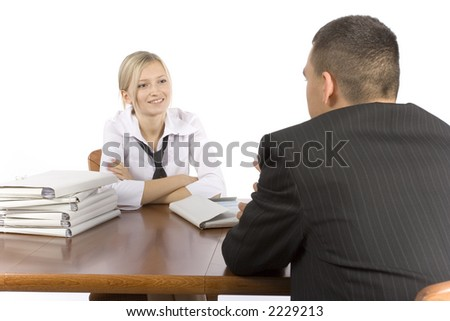 business meeting at the wood table - stock photo