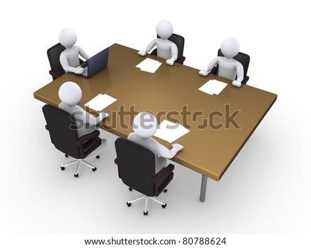 Business meeting between five 3d people - stock photo