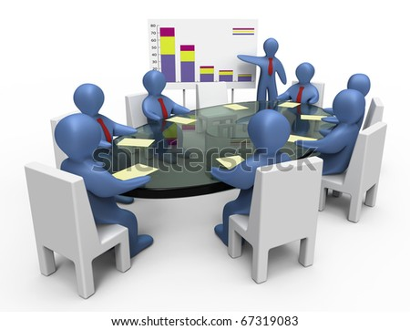 Business meeting. Business presentation. Isolated on white. - stock photo