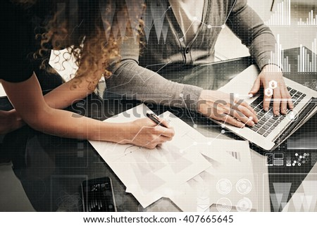 Business meeting concept. Businessmans crew working investment project modern office.Using contemporary laptop. Worldwide connection technology,stock exchanges graphics interface. Horizontal - stock photo