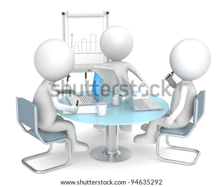 Business meeting. 3D little human characters X3. Manager discussing work with his colleagues. People series. - stock photo