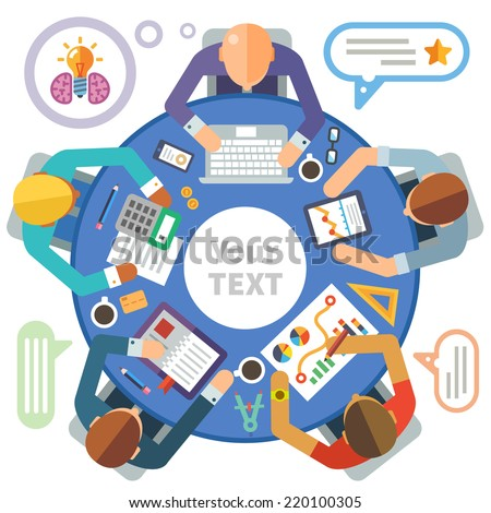 Business meeting. Flat illustration round tables and discussion: team, partners, employees, idea, plans, diagrams, drawings, calculator, laptop, tablet, coffee, office, business day, money - stock photo