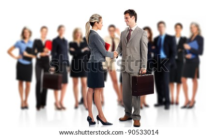 Business meeting. Group of business people. Business team. Isolated over white background. - stock photo