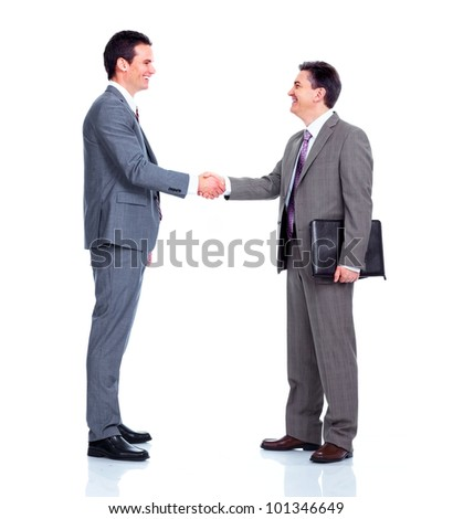 Business meeting. Handshake. Isolated on white background. - stock photo