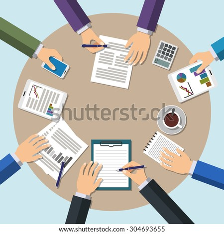 Business Meeting in office, teamwork, brainstorming concept. Flat Style Modern Design - stock photo