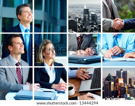 Business  meeting in the downtown. Businessmen and business woman - stock photo