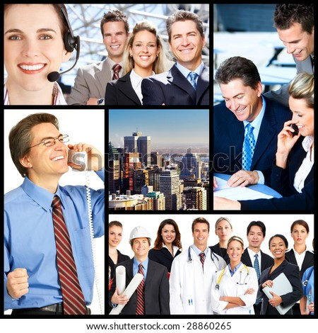 Business meeting in the downtown. Businessmen and business women - stock photo