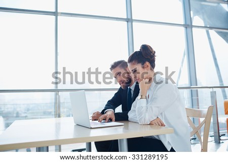 Business meeting of two partners at modern office - stock photo