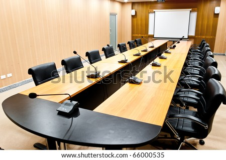 Business meeting room or board room interior - stock photo