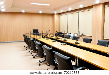Business meeting room or boardroom interiors - stock photo