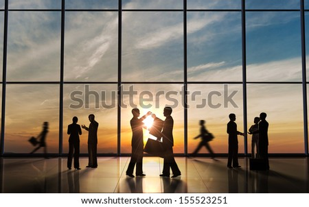 Business Meeting silhouettes rendered with computer graphic. - stock photo