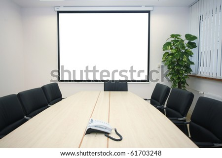 business meeting table with display interior - stock photo