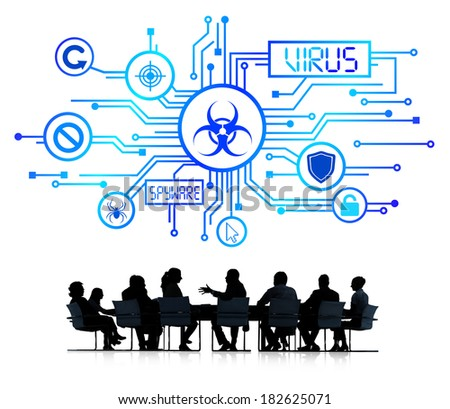 Business meeting With Virus Infographic - stock photo