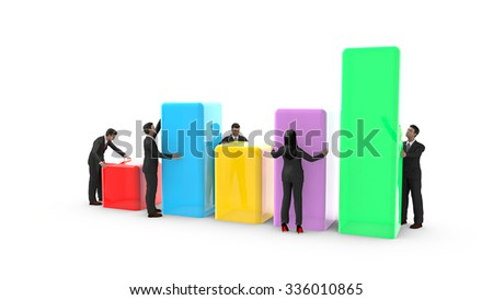 Business men and woman placing bar charts. Everyone contributes to the development of graphic data.