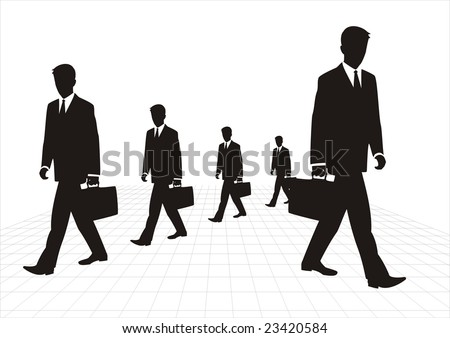 Business men are walking,follow rules docilely.