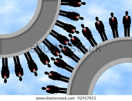 Business men being cogs in a wheel to make the business run smooth. - stock photo