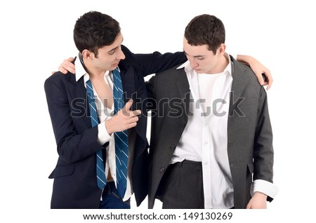 Business men drunk. Out of job due to crisis. Isolated on white background. - stock photo
