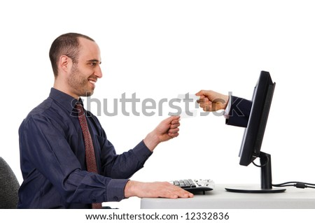 business men exchanging blank cards on the internet - stock photo