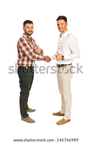 Business men giving hand shake and showing thumbs isolated on white background - stock photo