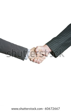 Business men hand shake in white background - stock photo