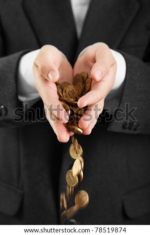 Business men hands holding finance currency coins - stock photo