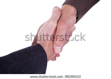 business men handshake on a white background - stock photo